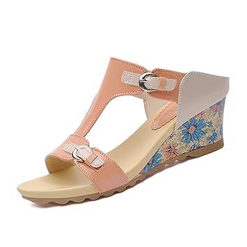 CAI Frauen Schuhe PU dick-unten Mädchen Hausschuhe Sommer 2018 Neue Mode Sandalen und Hausschuhe Schuhe Oberbekleidung Flip-Flops Damen Sandalen (Farbe : Beige, Größe : 36)