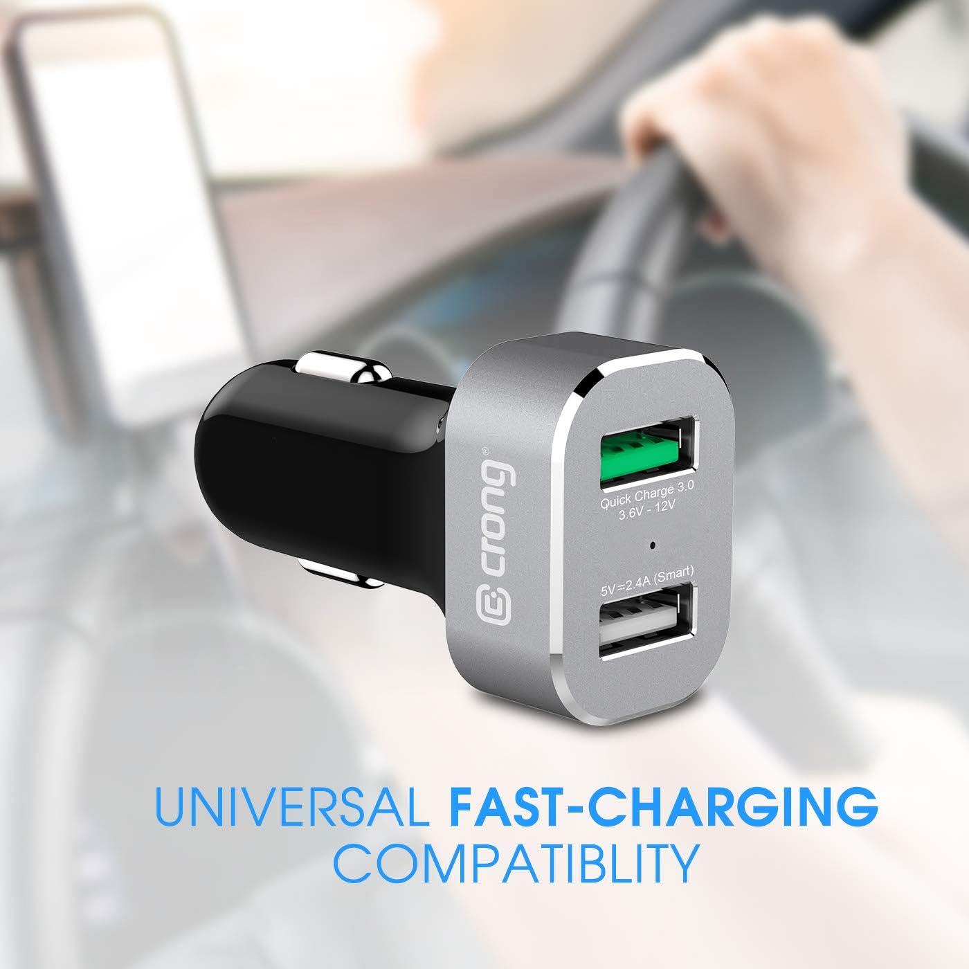 Crong Power Car Charger 63W Autoladeger/ät USB-C PD 45W aluminium//schwarz USB 18W QuickCharge 3.0