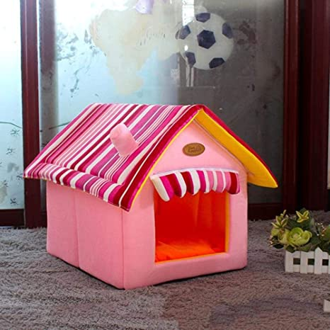 Vivian Inc Dog Houses - New Dog House Removable Cover with Mat and Bed Fashion Striped