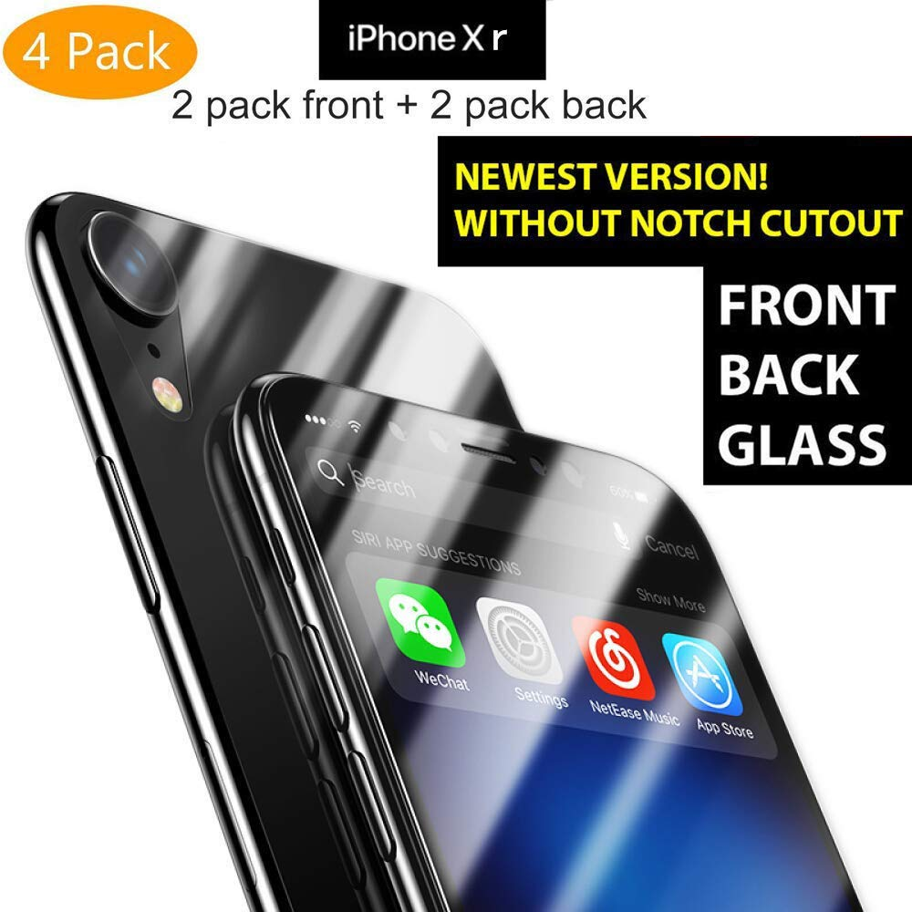 iKNOWTECH 4 Pack iPhone XR Screen Protector, iPhone XR Front Back Tempered  Glass [Bubble-Free][9H Hardness][Anti-Scratch][Anti-Bubble] HD Clear Front