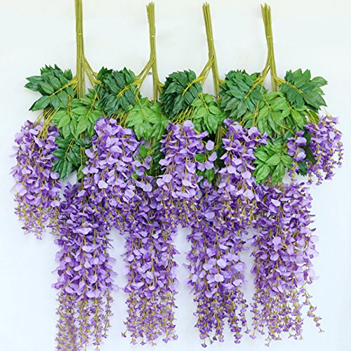 Alapaste 3.6 Feet Long Fake Silk Vine,Artificial Fake Wisteria Vine Ratta Hanging Garland Silk Flowers String Home Party Wedding Decor,12 Pack