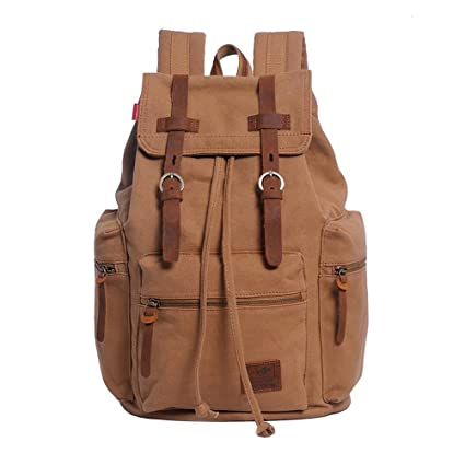 VRIKOO Retro Unisex Canvas Casual Daypacks Travel Rucksack Fashion School Bag Laptop Backpack (Yellowish-brown) xyuJZUw
