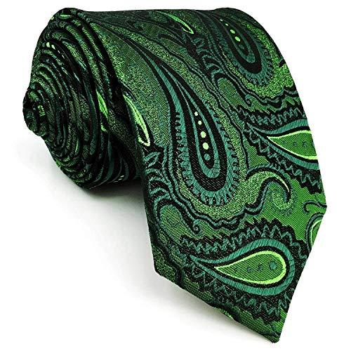 Shlax & Wing Long Size Mens Necktie Paisley Dark Green Silk Tie Wedding New Design -