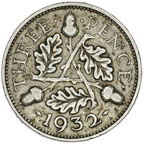 1932 UK George V British Silver Oak Reverse Threepence 98-Damage