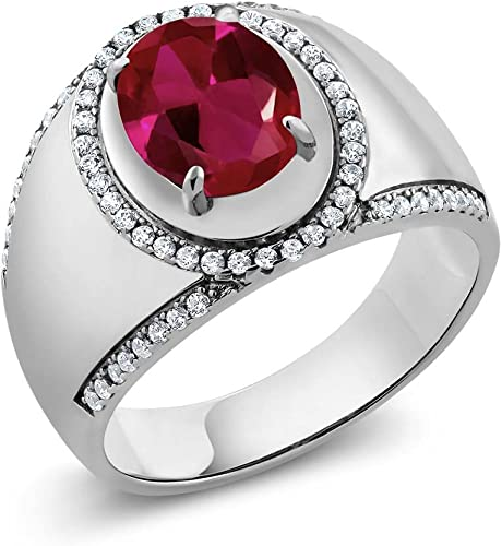 Gem Stone King 1.71 Ct Princess Red Created Ruby 18K Yellow Gold Plated Silver Mens Ring