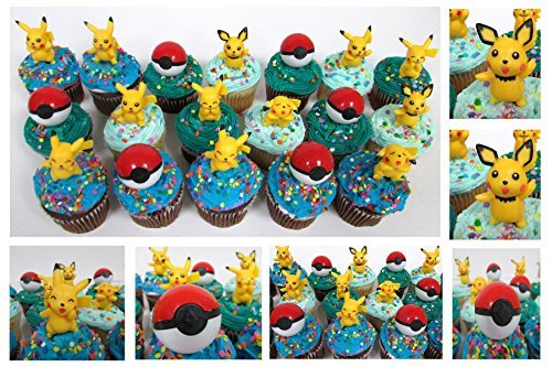 Pokemon 18 Piece Birthday CUPCAKE Topper Featuring Pikachu and Poke Balls