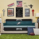 NFL Philadelphia Eagles Sofa Couch Reversible Furniture Protector with Elastic Straps, 75-inches by 110-inches