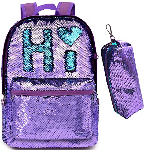 Magic Reversible Sequin-School Backpack for Girls Boys Kids Teens Fashion Glitter Mermaid Flip Sparkly Book Bag Gift Lightweight with Pencil Case (Purple/Teal) -