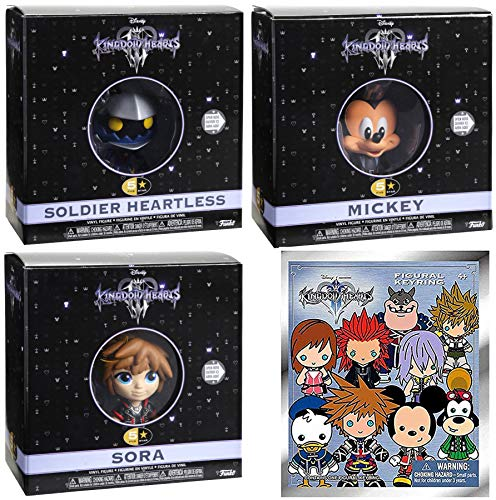 Heart 5 Star Figures KH3 Kingdom Hearts III - Sora Bundled with + Mickey Keyblade Vinyl + Heartless Soldier & Mini 3D Keychain Series Disney Figure Collectible 4-Pack Game Gear
