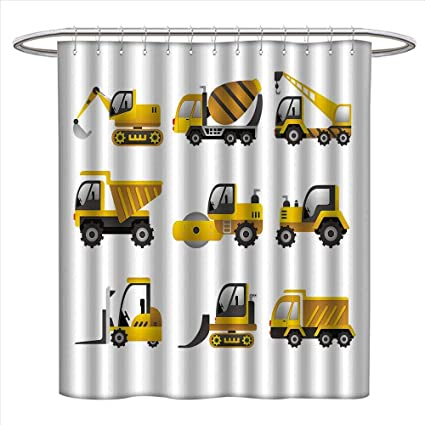 Construction Shower Curtains Waterproof Big Vehicles Icon Collection Engineering Building Theme Clip Art Style Fabric Bathroom