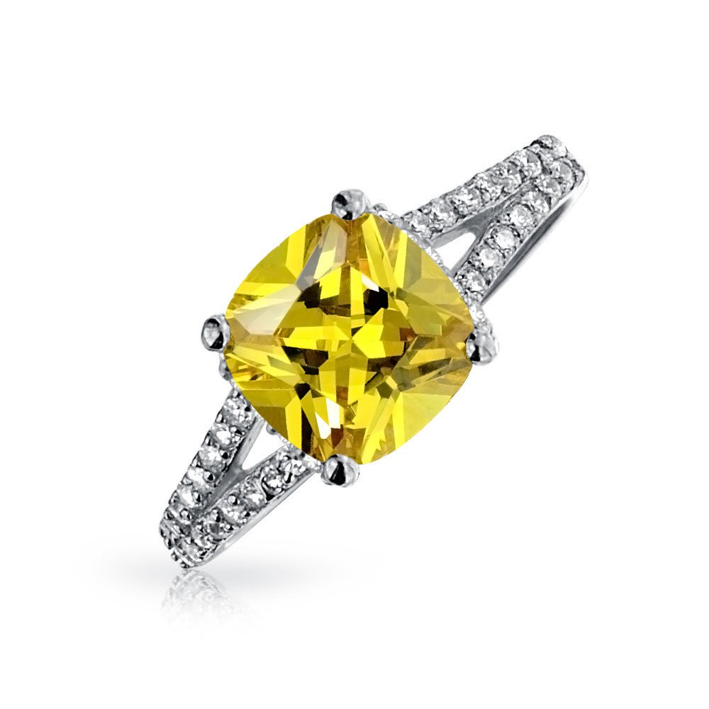Bling Jewelry 925 Silver 2 Carat Cushion Cut Canary CZ Engagement Ring JHO-R7413CA