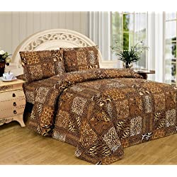 Brown Black Leopard Zebra Queen Size Sheet Set 4 Pc Safari Animal Print Pillow Shams Bedding