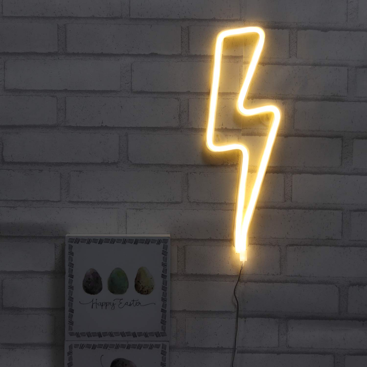 Nelnb Neon Signs Lightning Bolt Battery Operated And Usb Powered Warm White Art Led Decorative Lights Wall Decor For Living Room Office Christmas Wedding Party Decoration Tapestries Home