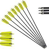ZSHJG 10pcs Flechas de Carbono 30 Pulgadas Flechas de la Gripe Spine 400 Tiro al Arco Flechas de Caza con 4 Plumas para Arco Recurvo y Arco Compuesto Flechas para Caza o Práctica