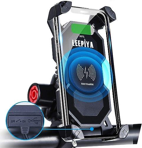 Leepiya Motorcycle Phone Mount with Wireless and USB Charger