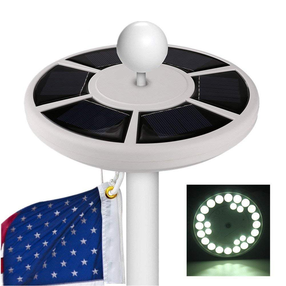 Sprise Solar Flag Pole Lights 26 LED Downlight for Most 15 to 25 Ft,Auto On/Off Night Light