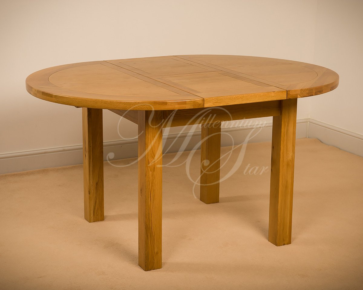 Clovelly MSL SOLID WOOD CHUNKY OAK ROUND EXTENDING DINING TABLE:  Amazon.co.uk: Kitchen U0026 Home