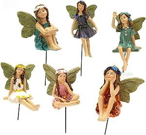 Fairy Garden - 6 Piece Set of Miniature Fairy Tale Statue Outdoor Miniature Resin Fairy Tale Statue 6 Inch Resin Fairy Tale Statue