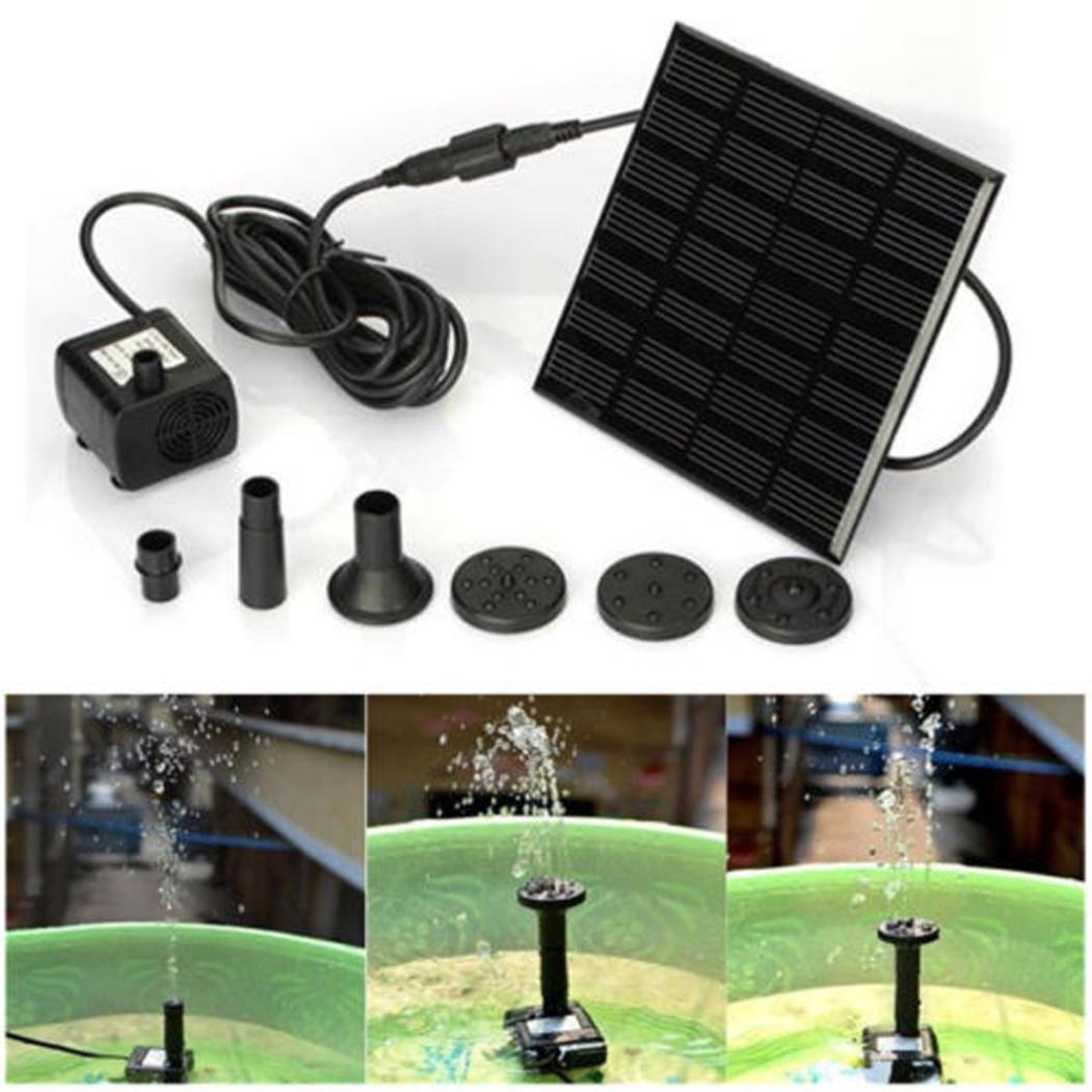 Coohole Solar Water Panel Power Fountain Pump Kit Pool Garden Pond Watering Submersible, Black (Black)