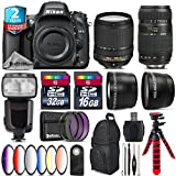 Holiday Saving Bundle for D610 DSLR Camera + 18-140mm VR Lens + Tamron 70-300mm Di LD Lens + Flash with LCD Display + 2.2x Telephoto Lens + 0.43x Wide Angle Lens - International Version