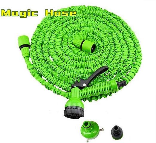 BYCDD Extensible Jardín Manguera Agua, Ligera 7 Splash Modes No más Fugas 1/2, Conectores de 3/4 Pulgadas Evita Enredos La Manguera de riego para Ducha de Animales,Green_125FT/37.5M: Amazon.es: Jardín