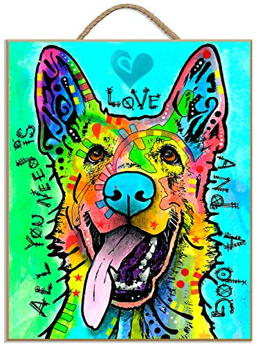 (Prints Charming Love and A Dog by Dean Russo Hanging Plaque 9.5x11 inches )