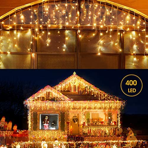 Led Icicle Lights Outdoor Christmas Decorations Lights 400LED 8 Modes Icicle Christmas Lights, Outdoor Fairy String Lights for Christmas, Party, Holiday Decorations Warm White