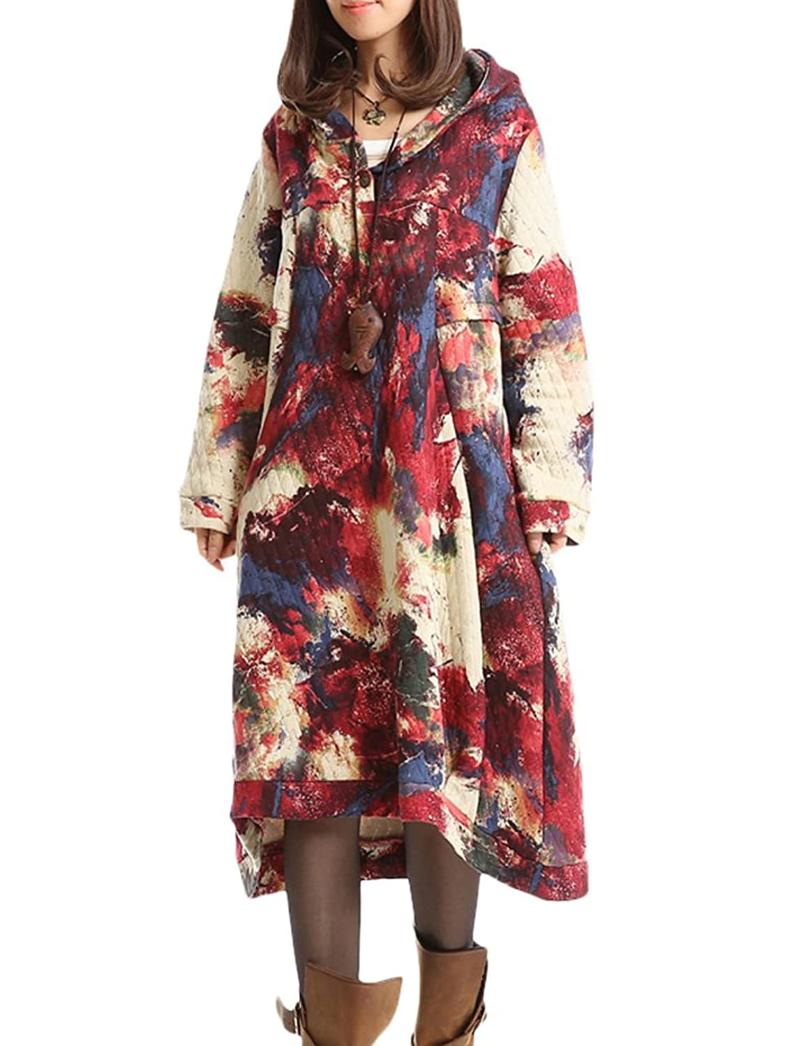MatchLife Women's New Casual Hoodie Printed Patchwork Spring Dress