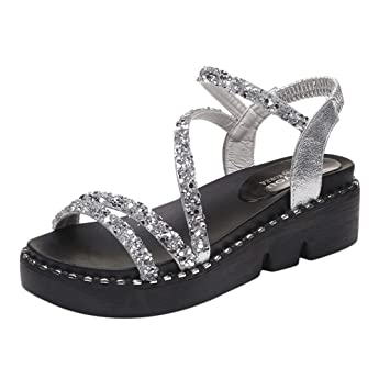 5b9accdc0949 Image Unavailable. Image not available for. Color  Women Sandals Ladies  Crystal Peep Toe Elastic Band Med Heel Wedges Bling Shoes Summer Fashion  Casual