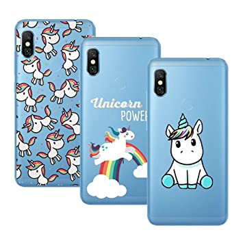Young & Ming Xiaomi Redmi Note 6 Pro Funda, [3 Pack] Carcasa Transparente Slilicona Suave TPU Gel Enjaca Xiaomi Redmi Note 6 Pro, Color 2