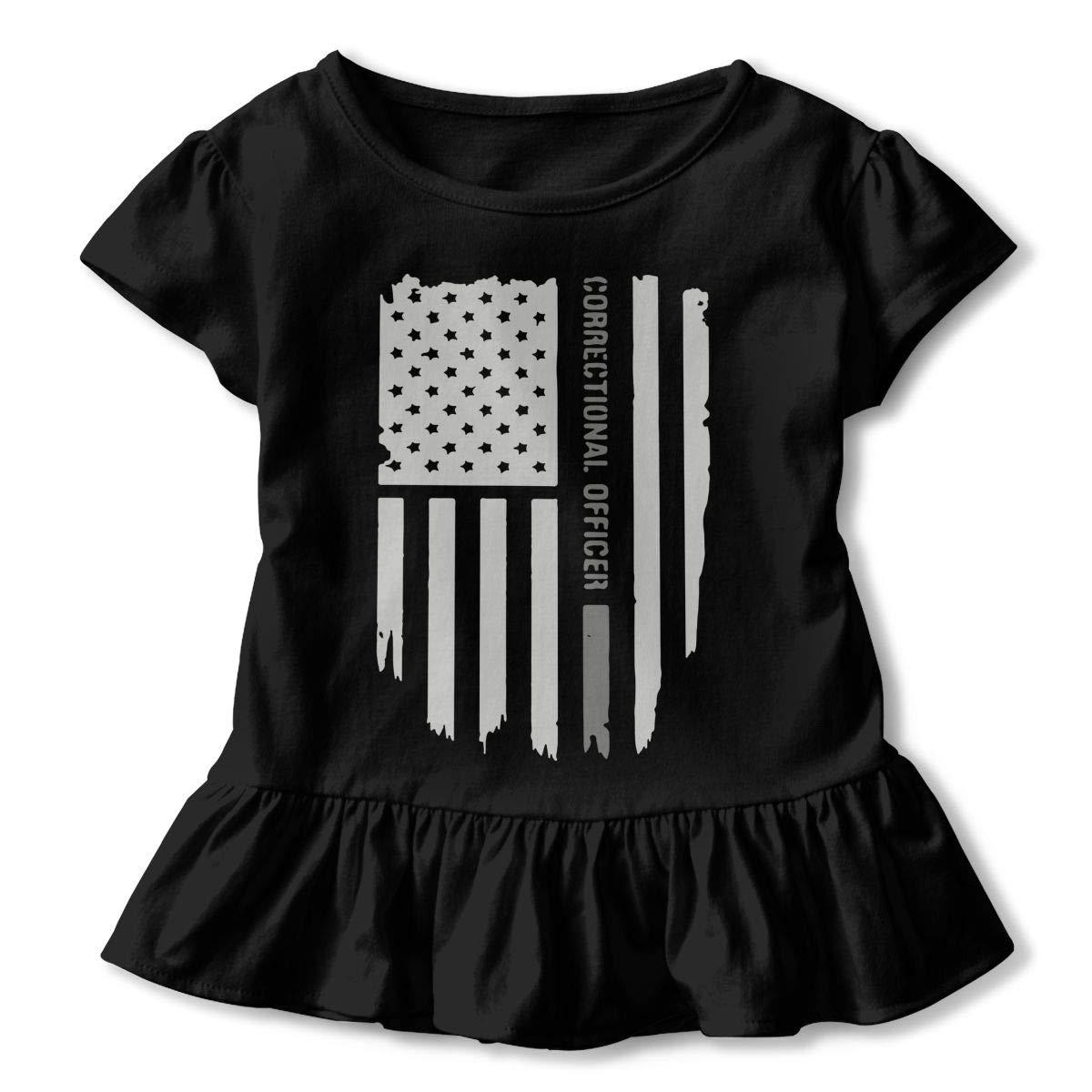 SHIRT1-KIDS Thin Silver Line Correctional Officer Childrens Girls Short Sleeve Shirts Ruffles Shirt Tee for 2-6T