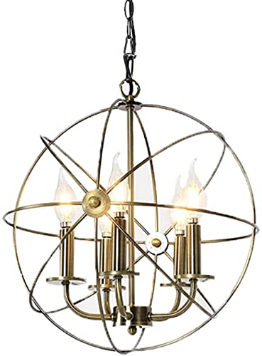 Chandeliers Lighting Industrial Style – 5 Lamp Dining Rooms, Kitchen Living Room Chandeliers Light Bulb – Ceiling Hanging Fixture – 16 Edison Metal Globe Shade Bronze Finish