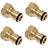 "Joywayus 4Pcs 3/4"" Female Brass Garden Water Hose Pipe Faucet Nozzle Quick Connect Adapter"