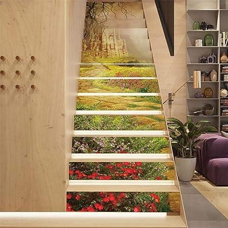 MTX Ltd Estilo Occidental Creativo decoración de la Pared 3D Vinilo Adhesivo Autoadhesivas Escaleras - para Escalera decoración extraíble Dream Castle Green Grassland Patrón Papel calcomanía: Amazon.es: Deportes y aire libre
