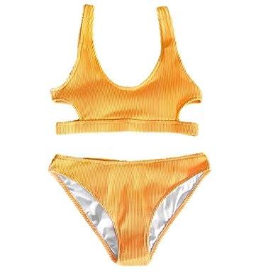 6a1fe9a69f8 Amazon.com  Mama Bohama Yellow Feather Yarn Solid Bikini  Clothing