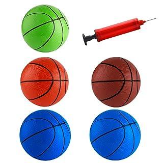 FEPITO 5 Pezzi 16cm Mini Pallacanestro inflazione Mini Palla Giocattoli con Pompa e Pallacanestro Aghi per i Bambini