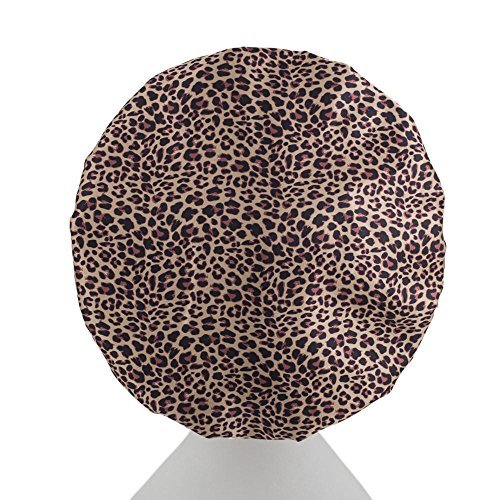 New Dilly's Collections Microfiber Shower Cap - Premium Three Layered Protection - Seals Out Steam & Moisture In The Shower - Protects Hair Treatment - Saves The Blow Out - Leopard Shower caps Dilly's Collections