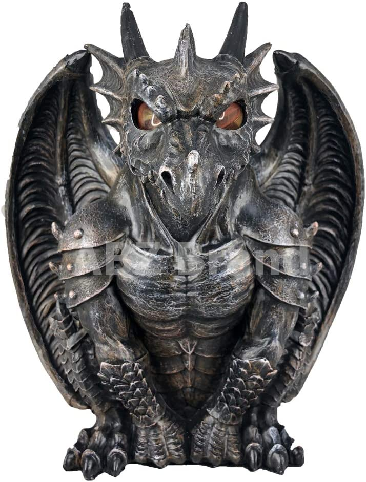 ABZ Brand Guardian Winged Red Eye Standing Dragon Gargoyle Candle Holder Statue Figurine Gothic Myth Fantasy Sculpture Decor