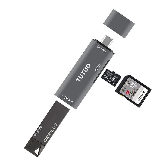 TUTUO Lector de Tarjetas SD/Micro SD (TF) USB Tipo C a USB A 3.0 ...