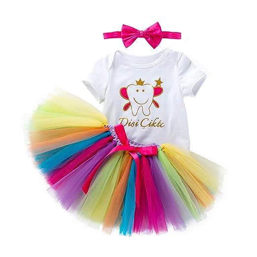 068602e38 Amazon.com  Keliay Toddler Newborn Baby Girls Letter Romper +Rainbow ...