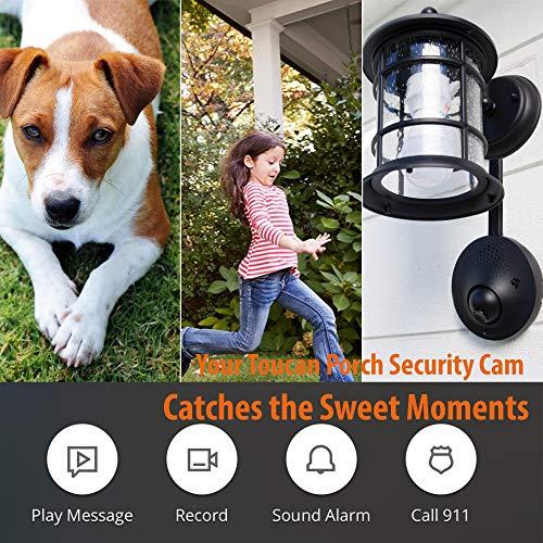 Toucan Outdoor Security Camera, Waterproof HD Video Surveillance System, Smart Lighting, Motion Detection, 2 Way Audio, Alert, Alarm, Recording, 2 Hours Cloud Storage, No Hard Wiring, 2.4Ghz Wifi