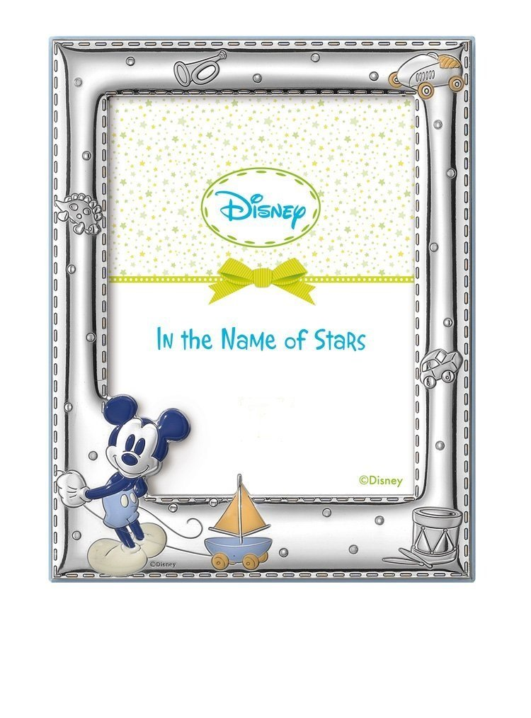 STERLING SILVER Picture Frame Disney Mickey Mouse (3.5'' x 5)''. Made in Italy