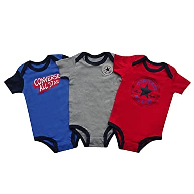 Converse Baby Boys 0 24m 3 Pack Creeper Hanging Clothing Set Red 0