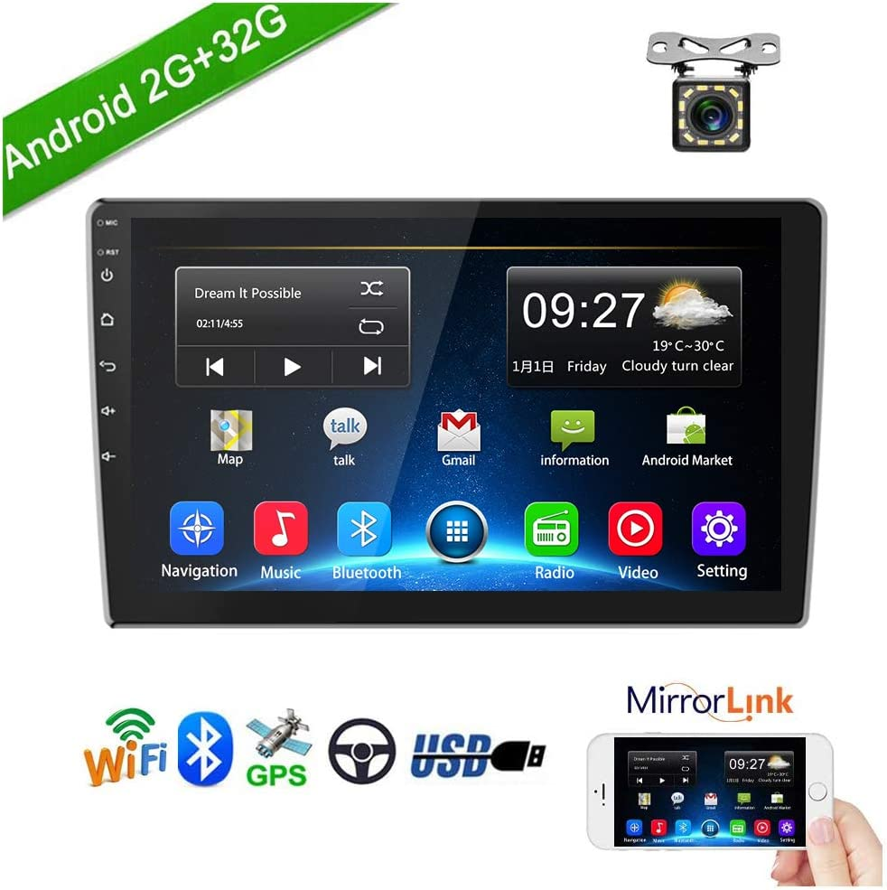 Podofo Double Din Car Stereo Car GPS Navigation Android Head Unit in Dash 2G RAM+32G ROM 9 Inch 2.5D Tempered Glass Support Bluetooth,WiFi,USB Mirror Link, FM Radio with Rear View Camera