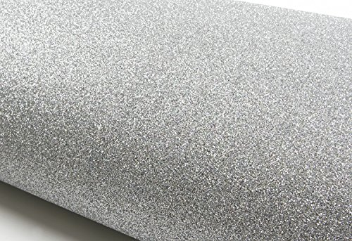 Peel & Stick Glitter Sand Bubble Free Interior Film Shelf Liner Table and Door Reform Silver : 48.03 inch X 11.81 inch