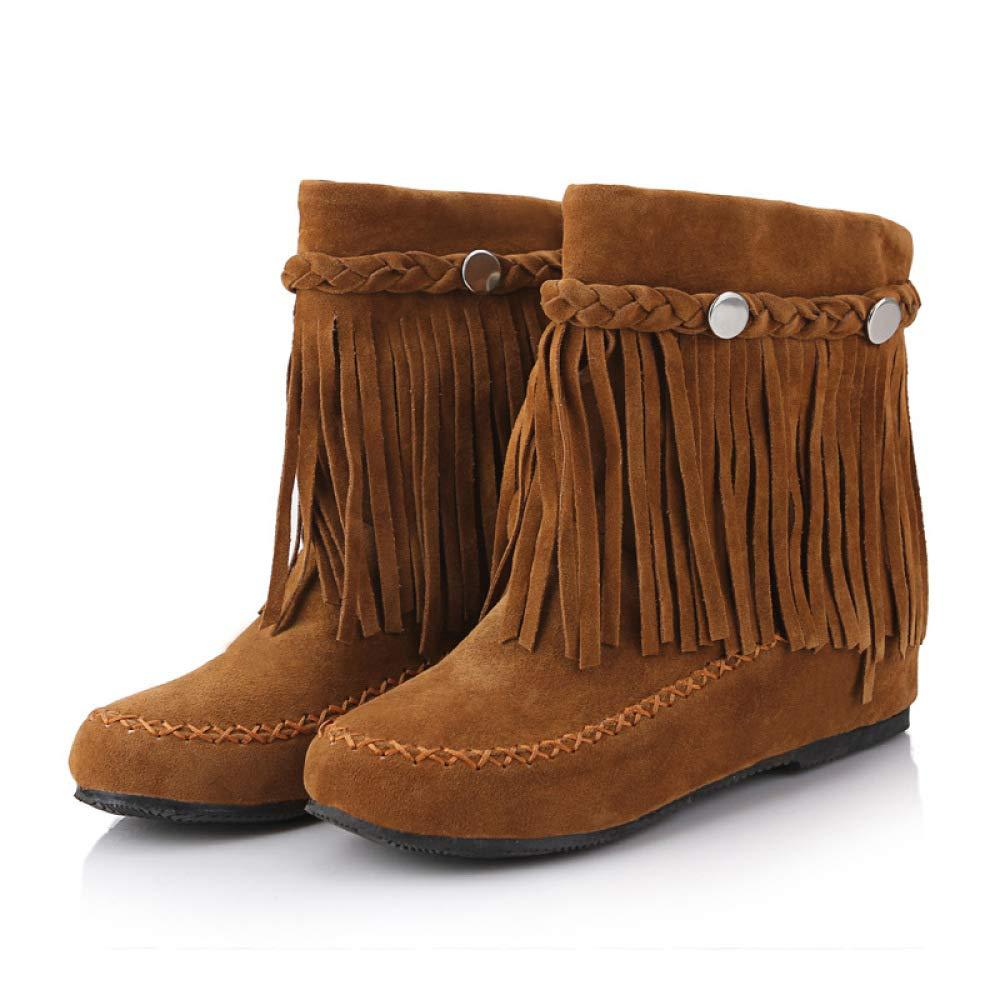 QINGMM Frauen Stiefel Stiefel Stiefel 2018 Herbst Flachen Boden Wilden 33-45 Größe Code Niedrigen Rohr Quaste Stiefel Braun 39 EU ba5240