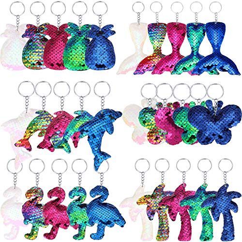 30 Pieces Sequin Keychains Flip Sequins Keychain with Pineapple, Flamingo, Palm Tree, Dolphin, Butterfly and Mermaid Tail Shape for Keys Handbags Wallets Party Supplies ()