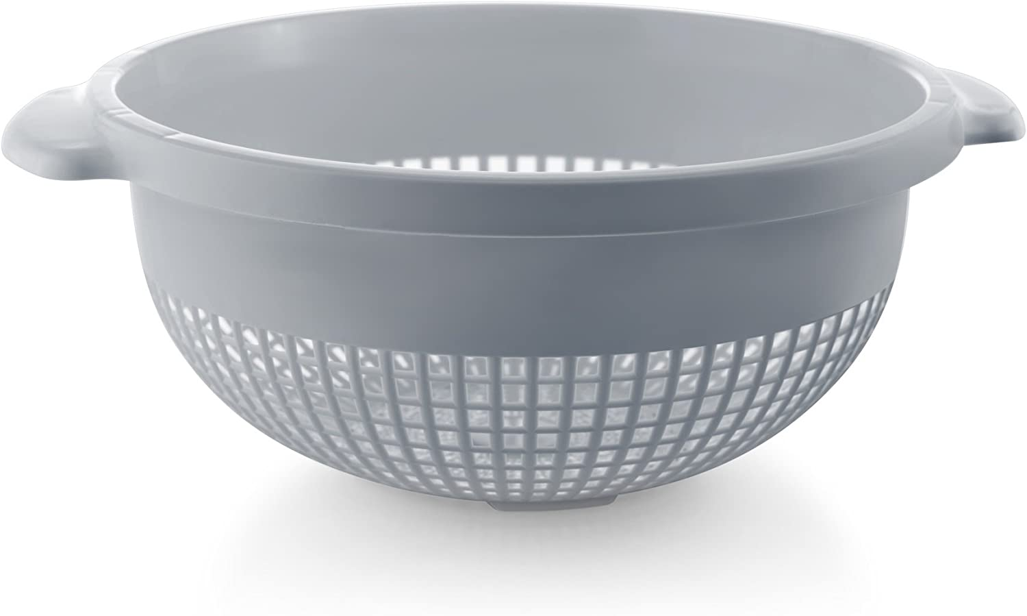 YBM Home 14 Inch Plastic Strainer and Colander with Handle for Pasta, Spaguetti, Noodles, Vegetables and More, Dishwasher Safe 31-1128-gray (1, Gray)