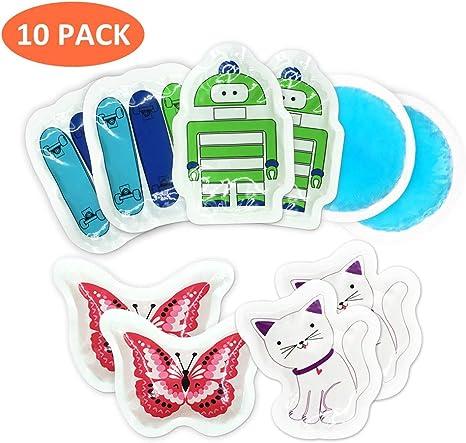 10 Pacco ghiaccio gel per bambini, riutilizzabili freddo
