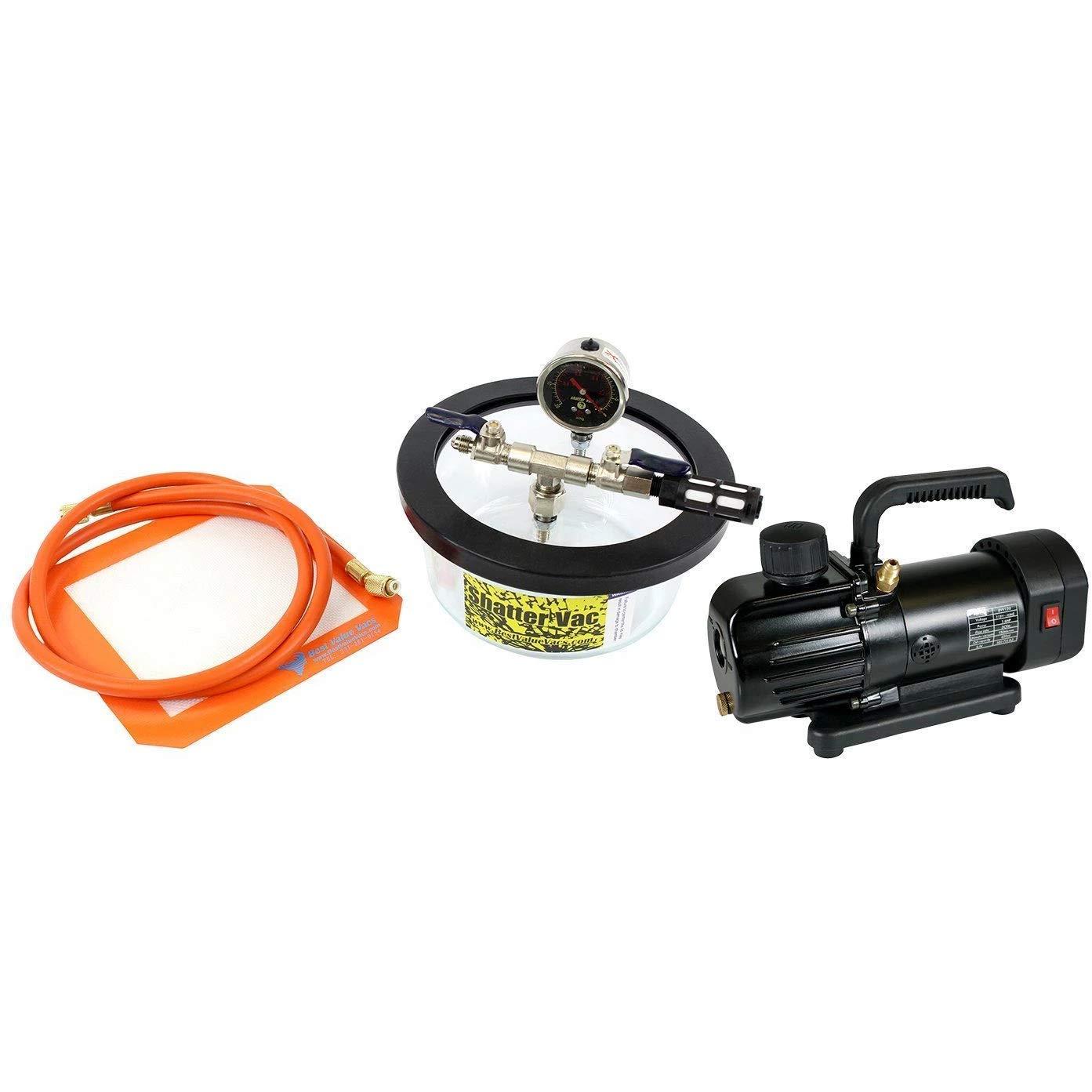 SVac 1.75 Quart Pyrex Vacuum Chamber and BVV130 Mini 3CFM Single Stage Vacuum Pump Kit
